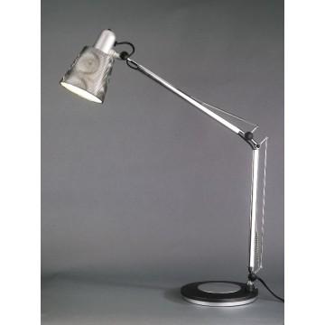 Lampe de bureau grise avec abat-jour irisé semi-transparent CASTING