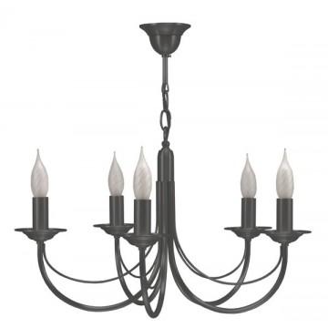 Lustre cinq lumières en laiton finition graphite CHATELET