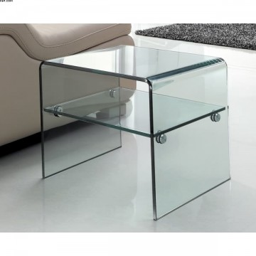 bout de canap en verre transparent. Black Bedroom Furniture Sets. Home Design Ideas