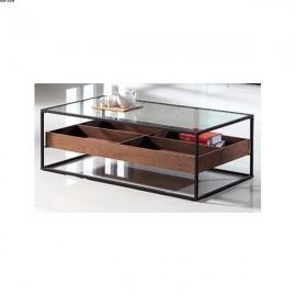 Table basse 4 compartiments métal noir et Verre MDF Noyer