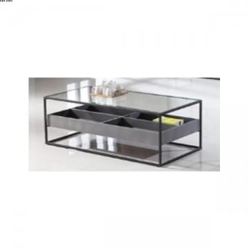 table basse 4 compartiments Métal Noir et verre MDF Ciment