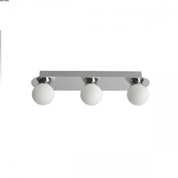 Réglette trois lumières Métal Chrome et verres blancs LEDs intégrées