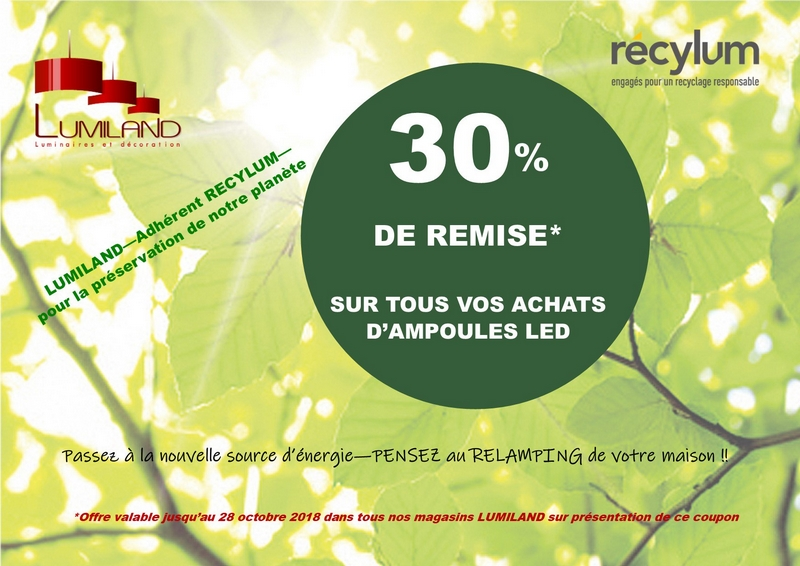 Réduction 30ù sur ampoules LED