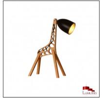 Lampe à poser GIRAFE, Bois naturel et Métal Noir et doré, 1 lumière