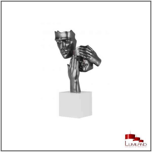 Statue CACHE-CACHE, Gris Perle, socle Blanc.