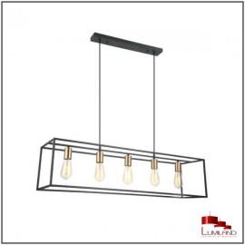 Suspension AGORA, Noire et Cuivre, 5 lumières