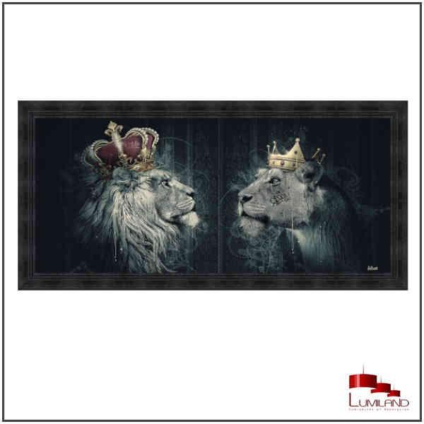 Tableau LIONS COURONNÉS, Noir, encadrement Noir