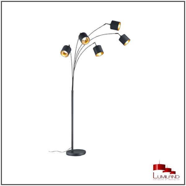 Lampadaire TOMMY, Noir et Or, 5 lumières