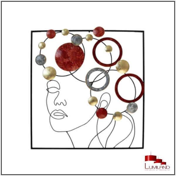 Sculpture VISAGE, Disques Rouges, Gris, Or, métal.