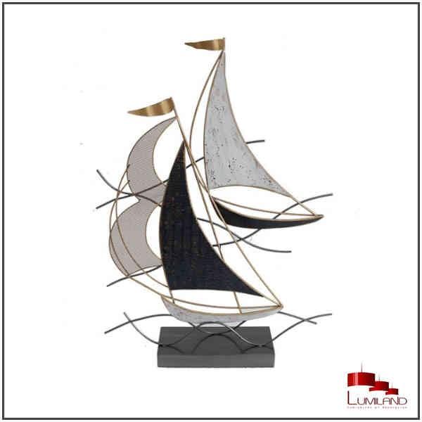 Sculpture VOILIERS, Gris et Or, métal.
