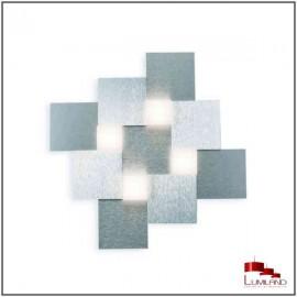 Plafonnier CREO, Alu, 4 L.E.D. Intégrée, en carré