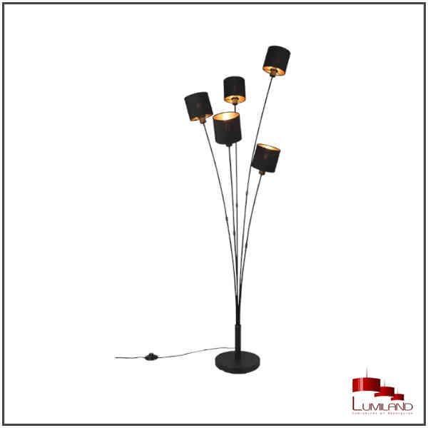 Lampadaire TOMMY, Noir et Or, 5 lumières, Droit