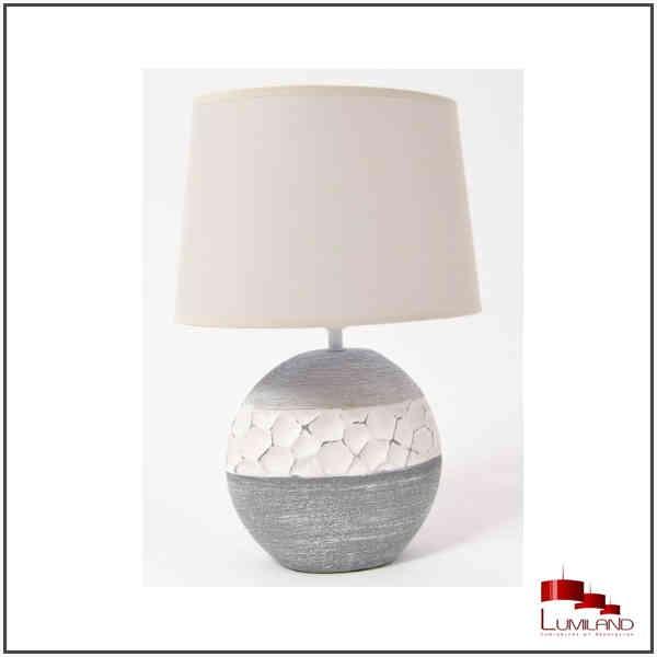 Lampe à poser IMPULSION, Grise et Blanche, Abat jour Blanc, 1 lumière.