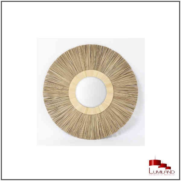 Miroir SOLEIL, Osier naturel, rond, 60cm