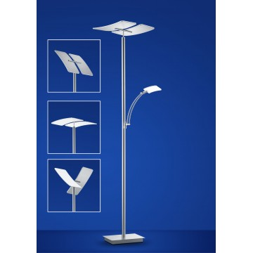Lampadaire + liseuse LED finition nickel DUO