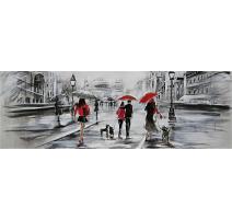 """Tableau """"Passants sous la pluie"""""""