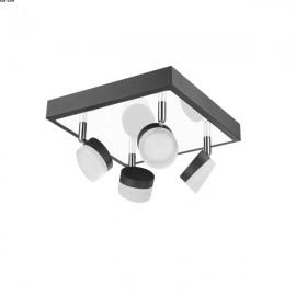 Plafonnier SPAN, Noir et Nickel, 4 lumières