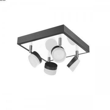 PLA 4X5W LED CHANG. 1800LM 3000K NICKEL S/ANTHR