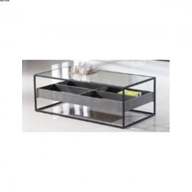 Table basse 4 compartiment métal noir et Verre MDF Ciment