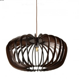 Suspension TILLEUL, Bois Black Coffee, Grand Modèle, D60 cm, 1 lumière