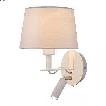 Applique Métal et Tissu BLANC liseuse LED Intégrée