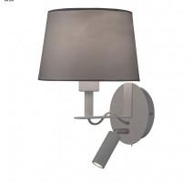 Applique Métal et Tissu Gris liseuse LED Intégrée