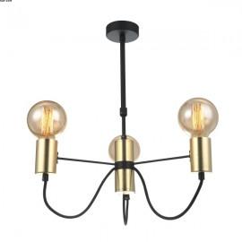 Suspension SIMPLY trois lumières Noir et Or télescopique.