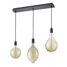 Suspension GINSTER, Noir mat et Ambre, 3 lumières