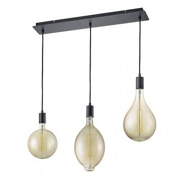 suspension 3 lumières Noir Mat et Ambre