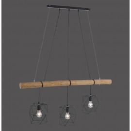 Suspension EDGAR, Noire, 3 lumières