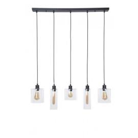 Suspension ILO-ILO, Noire, 5 lumières linéaires