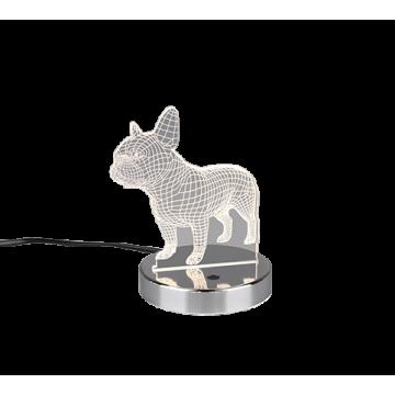 Lampe à poser DOG, Chrome, LEDS Intégrées