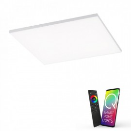 Plafonnier connecté FRAMELESS, Acier, LEDS Intégrées, RGB, carré