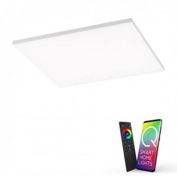 Plafonnier connecté FRAMELESS, Acier, LEDS Intégrées RGB carré
