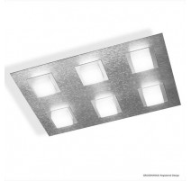 Plafonnier BASIC, Aluminium Mat, 6 LEDS Intégrées