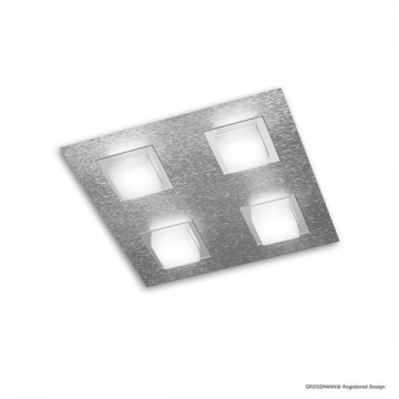 Plafonnier BASIC, Aluminium Mat, 4 LEDS Intégrées