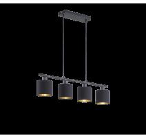 Suspension TOMMY, Noir et Or, 4 lumières