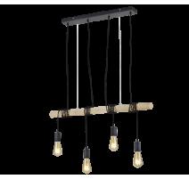 Suspension BRODY, Noir et Bois, 4 lumières