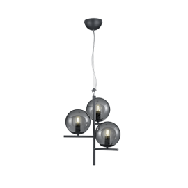 Suspension PURE, Anthracite, 3 lumières, Fumé