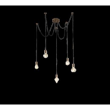 Suspension CORD, Cuivre ancien, 5 lumières.