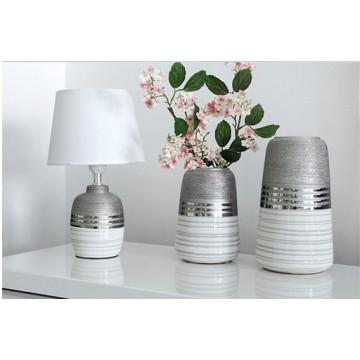 Vase LAVENA, Gris, Argent et Blanc, Petit Modèle