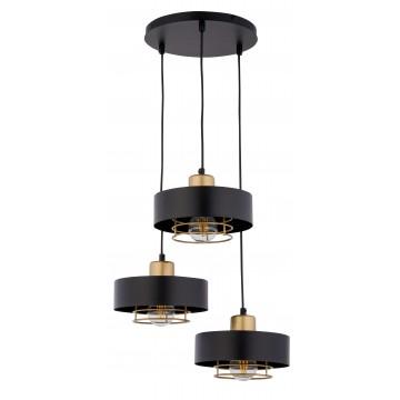 Suspension POKER, Noir Et Or, 3 lumière