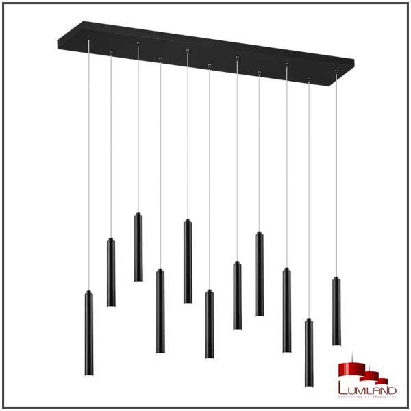 Suspension TUBULAR, Noire, LEDS Intégrées, Rectangulaire