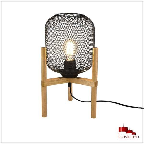 Lampe CALIMERO, Bois et métal Noir, 1 lumière.