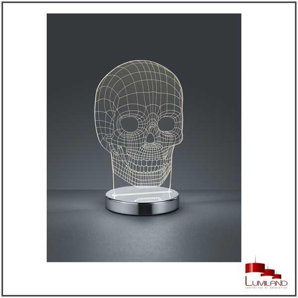 Lampe SKULL, Chrome et transparent, LEDS Intégrées.