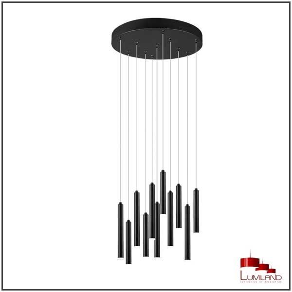 Suspension TUBULAR, Noire, LEDS Intégrées, Ronde