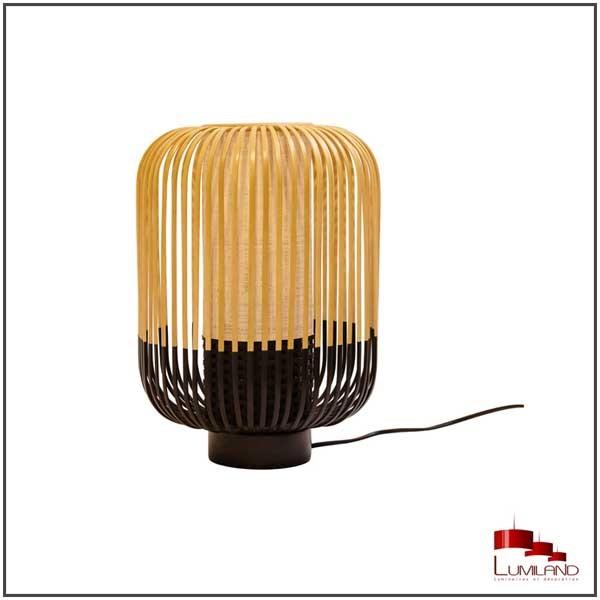 Lampe BAMBOO, Noir et Naturel, 1 lumière, D27 cm (taille M)