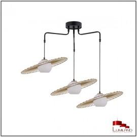Suspension SOL, Noir et Or, 3 lumières