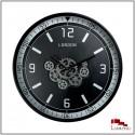 Horloge à engrenages LONDON, Noire et Argentée, D95.