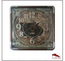 Horloge 1649, encadrement métal et bois, aspect vieilli, 80 x 80
